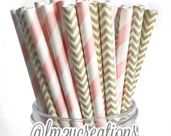 Pink and Gold Paper Straws, Drinking straws, Bridal Shower, Baby Shower, Pink and Gold Wedding, Pink Baby Shower,