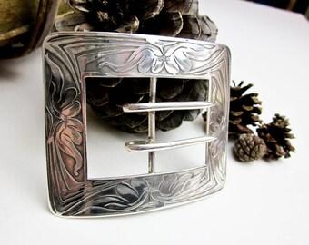 """Lebolt Silver 3"""" Women's Art Nouveau Belt Buckle, ca 1900 Chicago, Hand Engraved Floral, USA."""