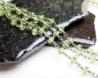 "Peridot Necklace Vintage Faceted Wire Wrap in Sterling Silver 21"" Long, Adjustible Length, SF 1990s."