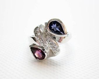 Art Deco Sapphire Ring, Ruby Ring, Diamond Ring,14K White Gold, Bridal Jewelry, Deco Ring, 1930s Ring, Engagement Ring, Wedding Ring, USA.