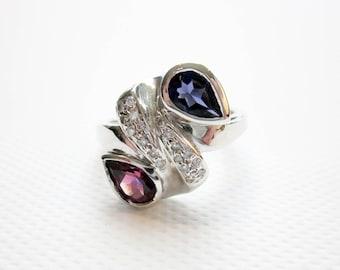 Ring Sapphire, Ruby, Diamonds & 14K, Bridal, Art Deco 30s Engagement/ Wedding Ring, USA.