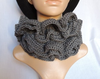 Dark grey ruffle scarf