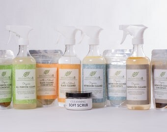 Complete Organic Cleaner Set with 5 Natural Cleaners plus Handmade Cloths