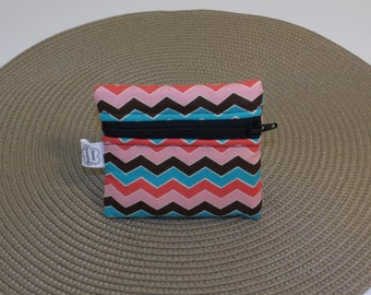 Wallet / small pouch / change purse Chevron stripes brown teal pink