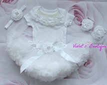 White tutu outfit...Christening outfit..Baby Christening outfit..Newborn take home outfit..withe tutu