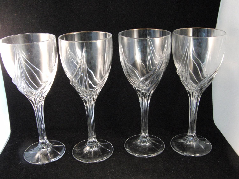 Genuine Lead Crystal Wine Glasses By Lenox 4 Glasses