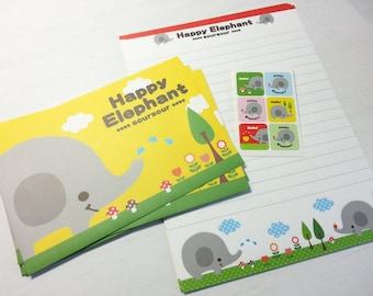 Lovely Elephant Letter Paper -12 Sheets + 6 Envelopes + 6 Stickers