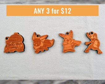 3 Pokemon Keychains/Laser Engraved Wood/Keychains