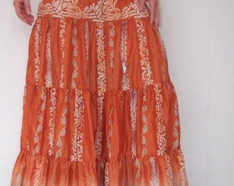 Orange Sacred gypsy women bohemian sateen long skirt & dress