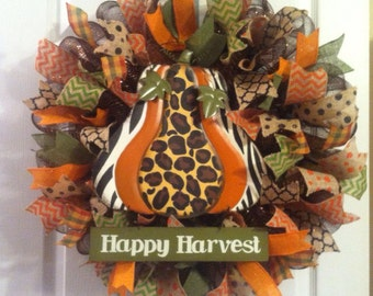 Fall Wreath/ Pumpkin Wreath/ LAST ONE / Leopard Pumpkin/ Fall Mesh Wreath/ Harvest Wreath/ Fall Door Decor