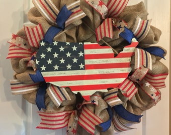 Fourth of July Wreath/ July 4th Burlap Wreath/ American Flag Wreath/ Patriotic wreath/ USA wreath / Red White Blue Wreath
