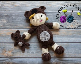 Crochet Teddy Bear doll, soft and plush doll, Soft Toy Doll, Plush Toy, Stuffed Toy, Soft Toy, Amigurumi toy-Made to Order