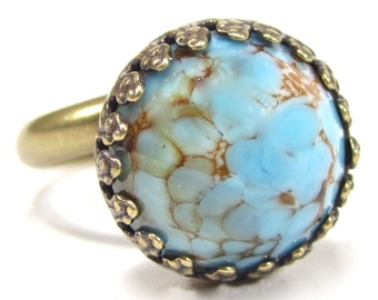 SoHo® ring vintage bronze bohemia 13mm turquoise matrix Handmade Bohemian glass stone 1960's made in germany