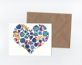 Blue Purple Ochre Floral Heart // Greeting card // Blank Inside // Hand Painted