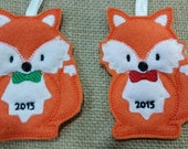 Fox Embroidered Holiday Ornament--Choice of Boy/Girl and Grey/Orange Fox