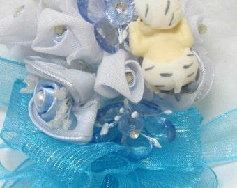 Baby Shower Mom to be Blue Baby Boy Jungle Safari Zebra Corsage