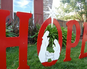 Hope with nativity scene outdoor christmas holiday yard for Large outdoor christmas signs