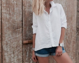 White Linen Lizzie Button Up Collared Top - Loose Fitting Shirt - White Linen Blouse