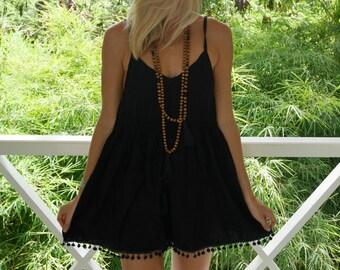 Black Pom Pom Jumpsuit / Playsuit, Short Beach Dress, Black Print Skort Shorts