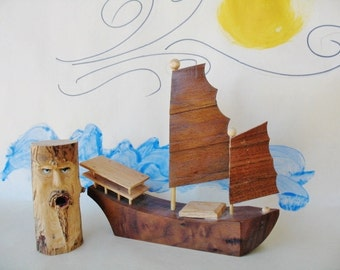 Handmade Wooden Sail Boat with Carved Wood Wind Spirit Face Small Nautical Art