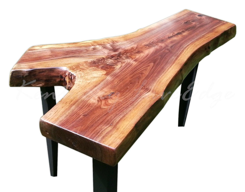 sale end table walnut table natural edges dark wood. Black Bedroom Furniture Sets. Home Design Ideas