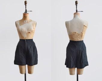 Black linen shorts / 1990s high waisted shorts / vintage womens cotton shorts