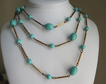 FLAPPER TURQUOISE & GOLD Beaded Necklace