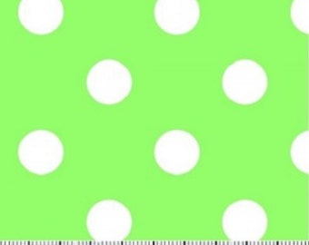 Lime Polka Dot Fabric -----100 Percent Cotton --- Fabric By The Yard
