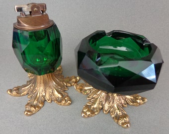Green Glass and Metal Pedestal Lighter and Ashtray Coffee Table Top Gold color metal Hollywood Regency era