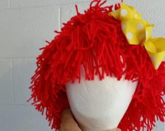 Girls Raggedy Ann Wig/Raggedy Ann costume wig, Christmas Costume/Girls Accessories, baby girls yarn wig, clown costume wig/MYSWEETCHICKAPEA