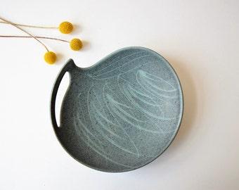 Vintage Danish - amorph bowl - grey blue - probably Lehmann Keramik - Danish mid century pottery