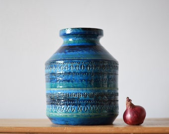 Bitossi Italy - big vase - Rimini Blu - midcentury pottery