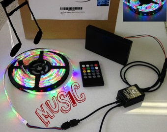 Music Battery Powered 3528 RGB LED Strip Light Kit 20 key Music IR Remote (Waterproof, 300 LEDs, 16.4ft, OctoPak 2-S)