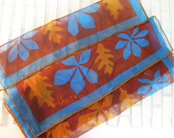 Turquoise Brown Vera Scarf Leaves Long