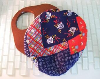 Wood Handle Purse Blue VEGAN Quilted Handbag