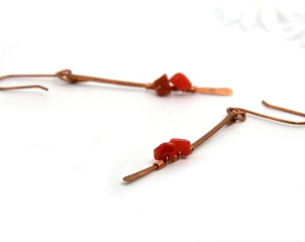 red coral long stick hammered earrings