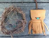 mini deerskin pouch with turquoise bead, handmade native american spirit bag, gypsy boho talisman, primitive pagan medicine bag
