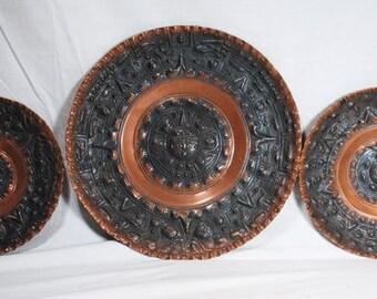Mexican Copper Aztec / Incan Wall Plates