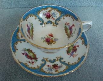Vintage Grosvenor China Teacup and Saucer RUTLAND Blue  Scalloped Gold Trim Circa 1940s