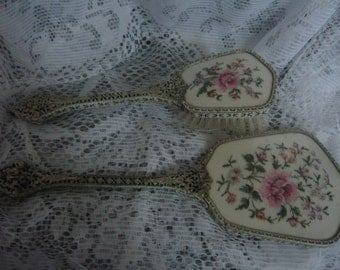 Beautiful Vintage REGENT Of LONDON Dresser/Vanity  Set  Hairbrush and Mirror Embroidered and Filigree Handles