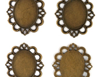 NEW 4 Large Antique Bronze Tone Oval Cameo Setting 30 x 40mm Tray Blanks (D)
