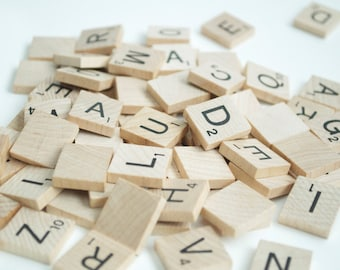 100 wooden scrabble tiles, vintage scrabble tiles, assorted scrabble tiles, wood scrabble tiles, scrabble game, wood tiles from scrabble