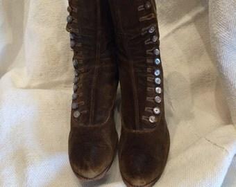 Brown velvet button up Victorian Boots