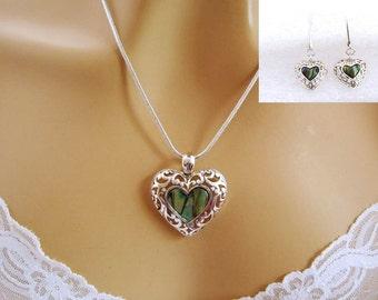 Heart Jewelry Set, Green Heart Necklace, Heart Earrings Set, Silver Filigree, Romantic Jewellery Set, Romantic Jewelry Gifts for Women