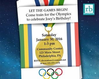 Olympics Birthday Party Invitations ~ 4x6 or 5x7 Digital Printable Olympic Train Invitaiton