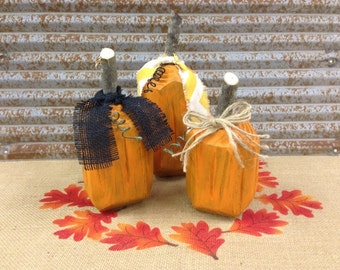 Set of 3 handmade wood wooden pumpkins with ribbon - Fall decorating Holiday decororating Home decor