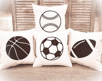 Decorative Pillow set of 4 with a Football, Basketball, Soccer ball & a Baseball.  COMPLETE pillow set. Sports decor