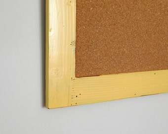Rustic FRAMED CORK BOARD - Message Board - Vintage Look, Distressed Wood - Shown in Soft Gold - 24 x 36 - Choose Color