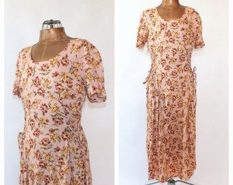 SHOP SALE Vintage 1990s Dress Rose Pink Floral Maxi Dress Country Prairie Sundress Boho Flirty Dress Lace Up Indie Chick Hipster Grunge Size