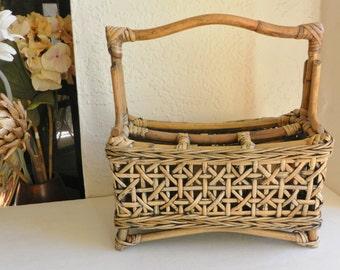 Vintage Bamboo Desk Kitchen Organizer Basket Weave Style Beach Island Style